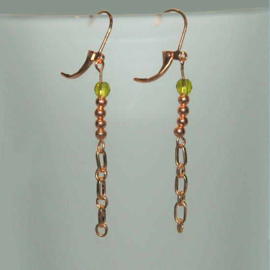 Copper Chain Green Glass Dangle Handcrafted Copper Lever Back Earrings LKJ