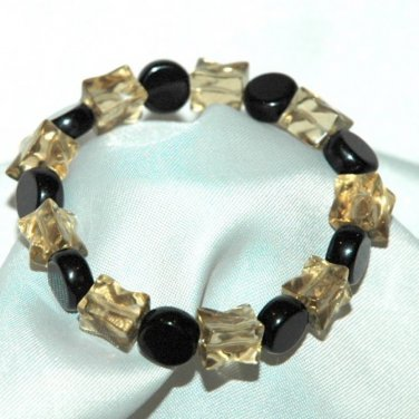 Handcrafted Black Disc & Irregular Square Smokey Bead Bracelet LKJ