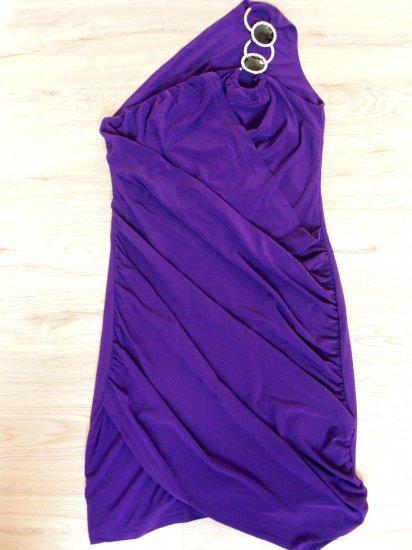 Seductively Sleek Purple Open Shoulder Club Dress (B2-0002)
