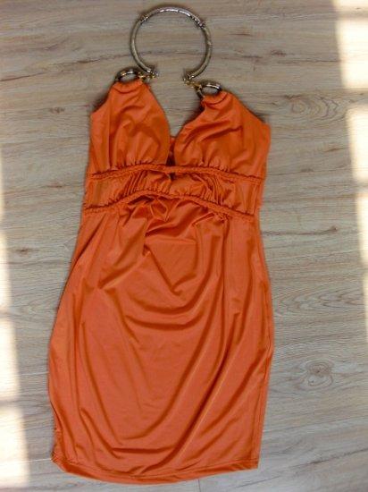 Stunning Orange Neck Hook Design Dress (B2-0011)