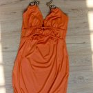 Stunning Orange Neck Hook Design Dress (B2-0011)