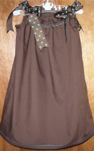 Chocolate Brown and Aqua Dots Pillowcase Dress
