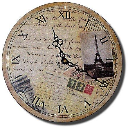 "12"" Decorative Wall Clock (Postcards from Paris)"