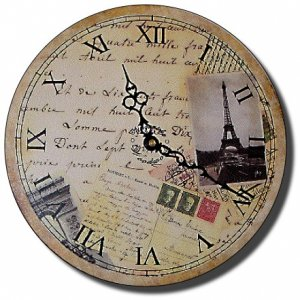 "12"" Decorative Wall Clock (Postcards from Paris)"