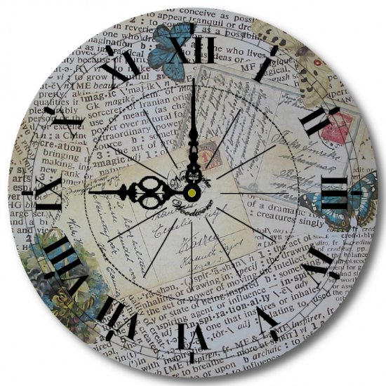 """12"""" Decorative Wall Clock (Postcards and Clippings Clock)"""