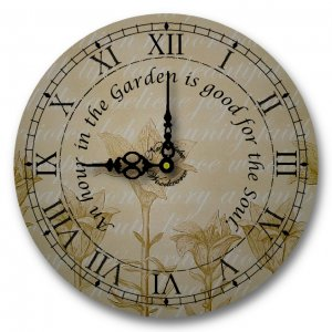 """12"""" Decorative Wall Clock (An Hour in the Garden)"""
