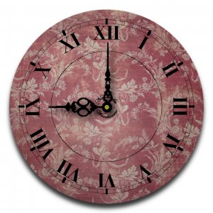 """12"""" Decorative Wall Clock (Red Floral)"""