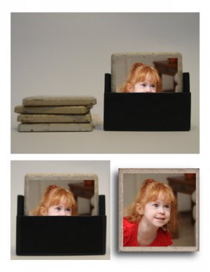 Set of 4 Travertine Tile Custom Photo Coasters with Stand