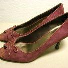 ANNE KLEIN red suede pumps