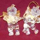 CRYSTAL CLEAR ACRYLIC W/GOLD ANGEL FIGURINE CHRISTMAS ORNAMENTS
