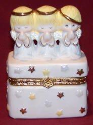 3 Angels Hinged Porcelain Trinket Box