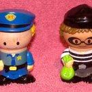 PLAY TOWN WOODEN FIGURES -Policeman Dan & Billy Bandit