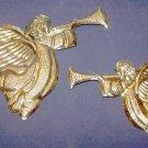 Vintage Home Interior ~ Trumpeting Brass Angel Plaques ~ NIB