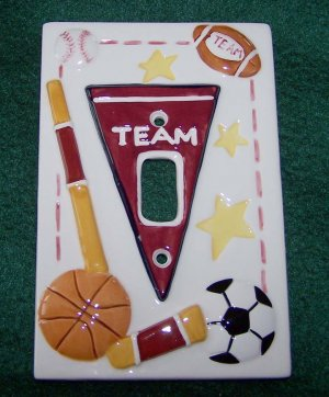 HOME INTERIORS KIDS SPORTS SWITCH PLATE COVER