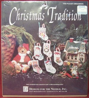 Christmas Tradition ~ 1920 Pocket Ornaments ~ Stocking Shapes~ Cross Stitch Kit