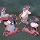 Wooden Amish Girl and Boy on Scooters and Girl and Boy w/Wagon