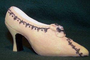Miniature Ceramic Shoe - Yellowish/Tan Heel with Dark Trim