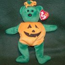 Retired Ty Beanie Babies Tricky Halloween Pumpkin Bear Plush W/Tag