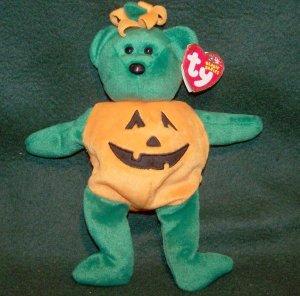 Retired Ty Beanie Babies Tricky Halloween Pumpkin Bear Plush W/Tag