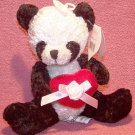 Panda Bear W/Velvet Heart with Pink Ribbon and Flower - Great Gift! NEW