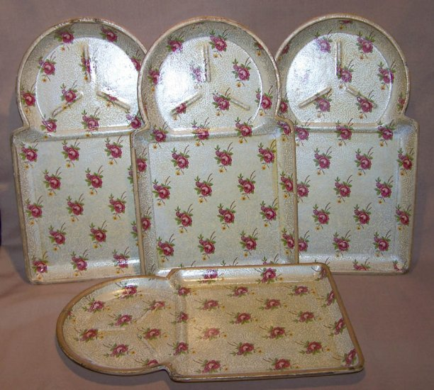 4 Vintage Highmount Quality Bar Snack Trays ~ Alcohol Proof