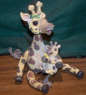 Giraffe with Baby and Ducky Figurine