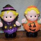 """2 - 7.5"""" Fisher Price Halloween Little People Sarah Lynn Witch & Pumpkin Eddie"""