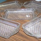 SET OF 5 GLASS DIAMOND CUT SNACK/SERVING DISHES