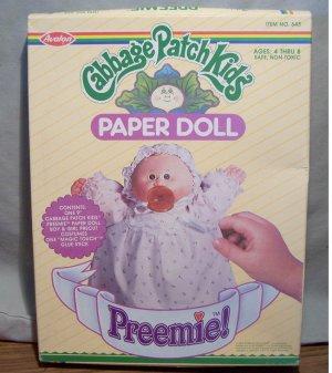 Vintage 1984 Cabbage Patch Kids Preemie! Paper Dolls ~ NIB