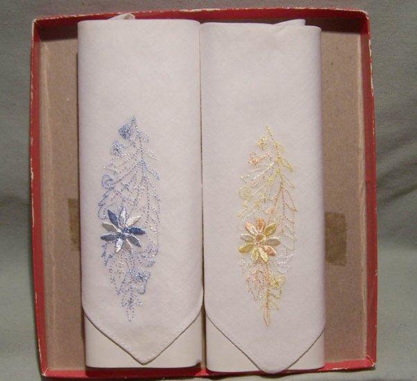 2 Beautiful Vintage Handkerchiefs
