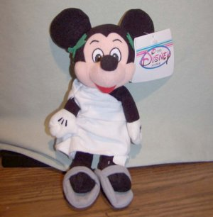 """Disney-MICKEY MOUSE in TOGA 8"""" Bean Bag Beanie Toy NWT"""