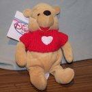 The Disney Store ~ Winnie the Pooh Red Sweater Plush Bean Bag Beanie