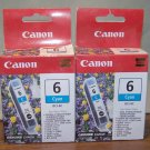 2 Canon Ink Cartridges BCI-6C Cyan NEW IN BOX