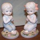 Vintage - HOMCO BOY AND GIRL PRAYING FIGURINE SET #1452