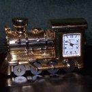 Vtg LOCOMOTIVE TRAIN CLOCK Sergio Valente Collectible Gold Stainless Steel