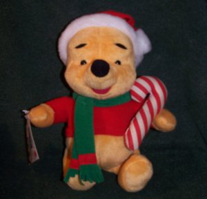 "DISNEY WINNIE THE POOH PLUSH MATTEL - SPECIAL EDITION 10"" W/SANTA HAT"