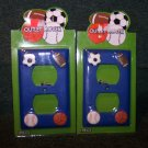 2 Dark Blue Sports Outlet Covers – Soccer, Football, Baseball and Basketball  - NIP