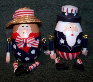 Patriotic Wooden Eggs w/Arms & Legs � Uncle Sam and Lady