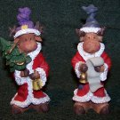 2 Christmas Moose Figurines – Dressed as Santa – 1 with Tree & 1 with List -