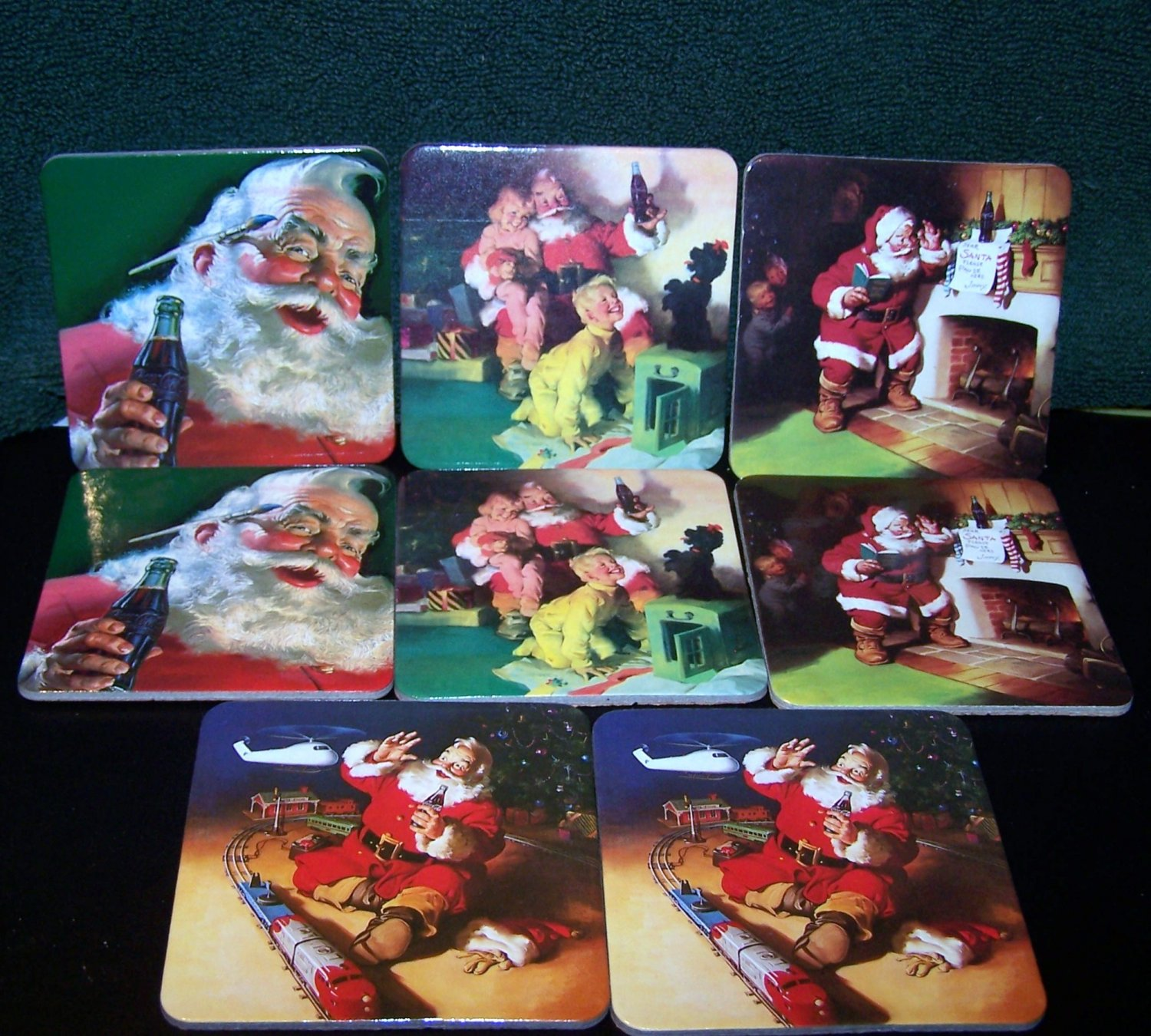 Vintage Coca Cola Santa Claus Coasters set of 8 � 2 each of 4 Different Santa Scenes Coke