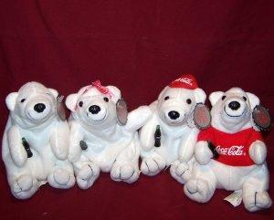 4 Coca Cola Plush Polar Bears - Orig. Coca-Cola Coke Brand - With Tags - 1997