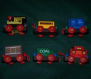 Vintage Wooden Midget Railway Train - 6 PIECE Montgomery Schoolhouse