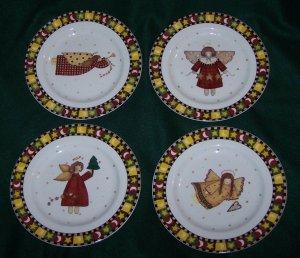 GATHERING OF ANGELS BY DEBBIE MUMM: Set of 4 Dessert/Salad Plates by Sakura