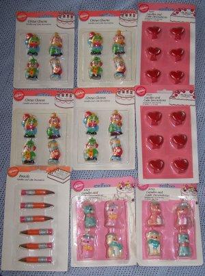 Vintage Wilton Candles � 16 Circus Clowns, 6 Pencils & 12 Heart Cake Candles  NIP
