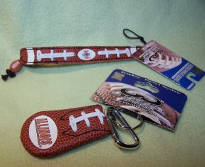 Illinois Illini Leather Football Bracelet and Keychain by GameWear