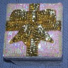 Present Shape Gift Box - Sequin & Velvet – White Box with Gold and Pearly White Sequin Top