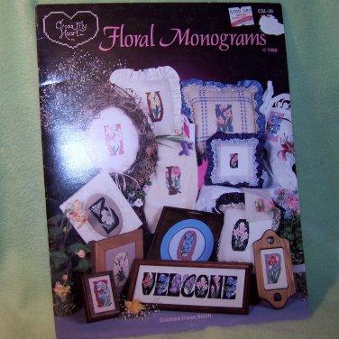 Floral Monograms Cross My Heart Cross Stitch Pattern Leaflet