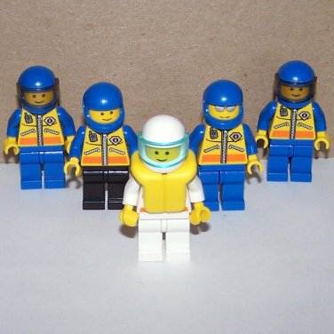 Lot of 5 Lego Coast Guard City Minifig Mini Figures w/Helmets & Access.