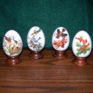 4 Avon Collectible Porcelain Eggs - Bird Designs & Sayings for Each Season