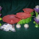 AVON Lighted FLORAL FLOWERS Tiered Indoor FOUNTAIN Candle Holders